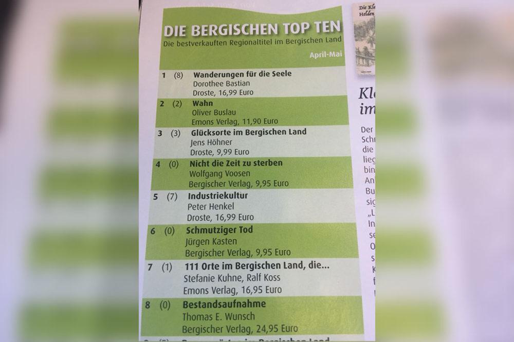 Top Seller Liste im Bergischen Boten